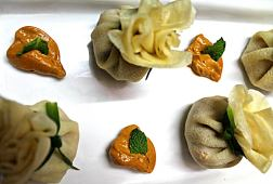 Crepe Dumplings with Mint Chicken and Pineapple Stuffing